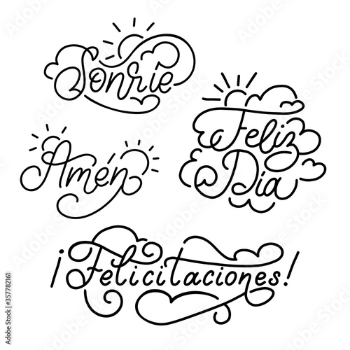 Photo Felicitaciones, Feliz Dia, Amen, Sonrie spanish translation of Congratulations, Happy Day, Let It Be So, Smile phrases