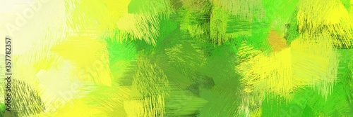 Obraz na plátně artistic brush strokes background with green yellow, lemon chiffon and dark green