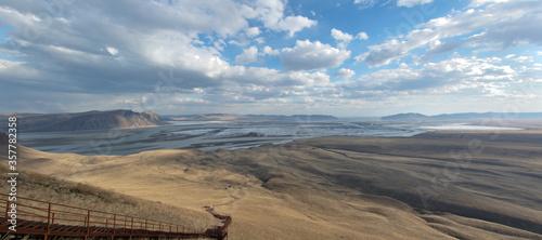 Fototapeta Mountain landscape with blue sky. Panorama of the Yenisei River valley, Southern Siberia. Republic of Khakassia obraz