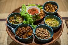 Northern Thai Cuisine.Top View Set Of Thai Northern Food.