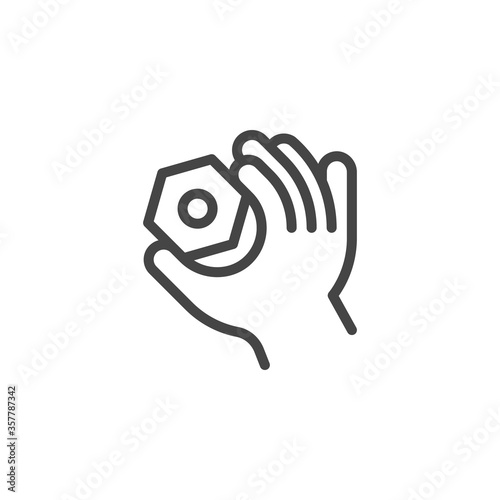 Thin Outline Icon Hand and Nut Slika na platnu