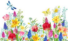 Floral Background For Greeting Cards.watercolor Hand Painting