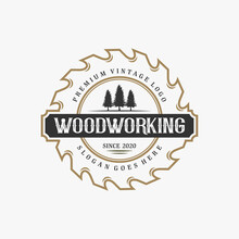 Wood Working Vintage Logo Desi...