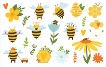 Bee Vector Bundle. Cute Bee With Honeycombs, Flowers Anf Leave. Cute Cartoon Bee For Kids, Logo, Textile, T Shirt And Other Design.Set Of Kawaii Honey Bees Isolated On White.