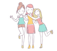 Vector Illustration Of Beautiful Happy Hugging Three Girls On White Background.