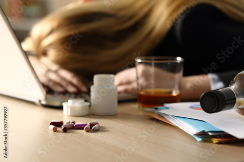 Entrepreneur attempting suicide with pills at home Canvas Print