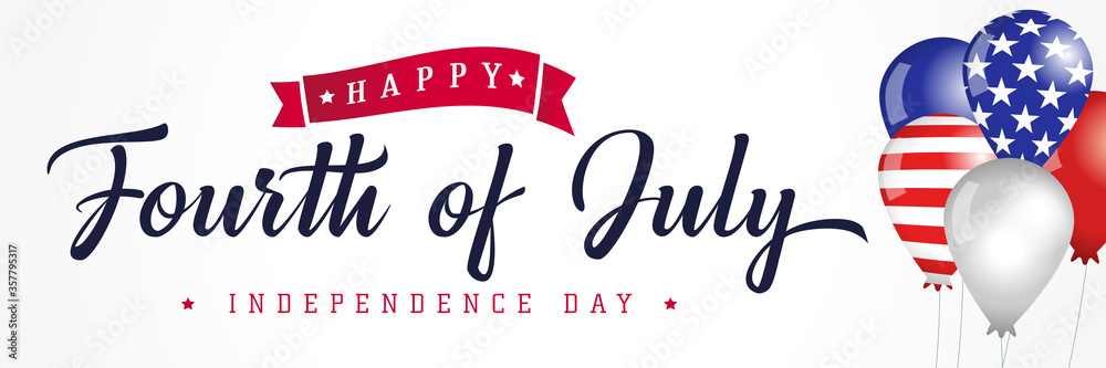 Fototapeta Happy Fourth of July, Independence Day USA calligraphy banner with flag in balloons. United States of America 4th of July text on colored balloons, sale vector Illustration