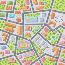 Vector Illustration. City Top View.  Streets, Houses, Buildings, Roads, Crossroads, Park, Stadium, Trees, Cars. (view From Above)