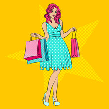 Old Fashioned Lady With The Bags In Vintage Style. Pin Up Girl. Special Offer Advertising Poster With Pop Art Woman On It. Star. Illustration Vector