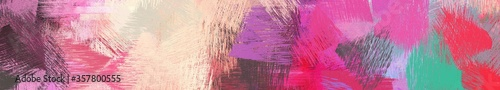 Fototapeta wide landscape graphic with abstract brush strokes background with pale violet red, dim gray and bisque obraz