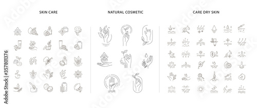 Fototapeta Vector icon and logo for natural cosmetics and care dry skin obraz