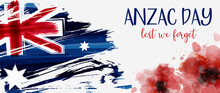 Anzac Day Banner With Grunge W...