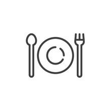 Plate, Fork And Spoon Line Ico...