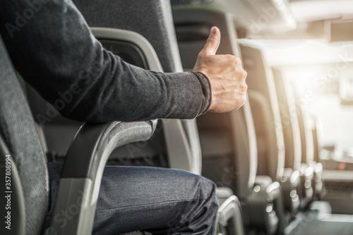 Fotomural Public Transportation Passenger Showing His Thumb Up