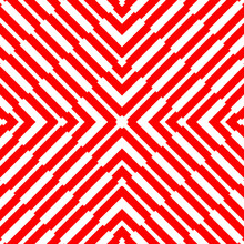 Red Diagonal Lines On White Background. Striped Wallpaper. Seamless Surface Pattern Design With Symmetrical Linear Ornament. Stripes Motif. Digital Paper For Textile Print, Page Fill. Vector Op Art