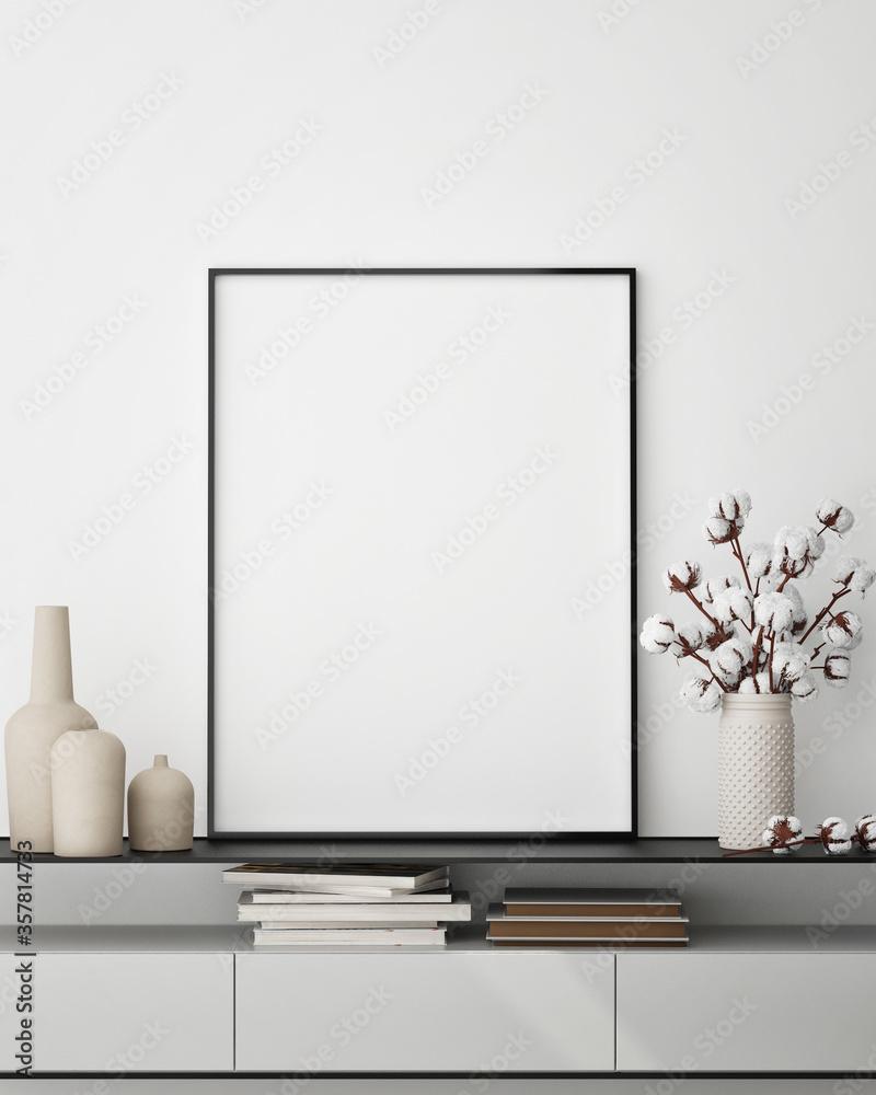 Fototapeta mock up poster frame in modern interior background,close up, living room, Scandinavian style, 3D render, 3D illustration