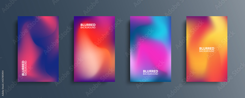 Fototapeta Blurred backgrounds set with modern abstract blurred color gradient patterns. Smooth templates collection for brochures, posters, banners, flyers and cards. Vector illustration.