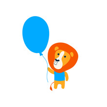Vector Wild  Animal Cute Lion Baby In T-shirt With Air Balloon.  Child Cartoon Character. Modern Simple Illustration For Paper Clothes On White Card Pattern
