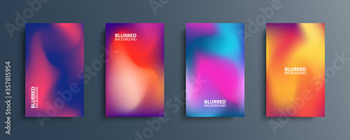 Blurred backgrounds set with modern abstract blurred color gradient patterns. Smooth templates collection for brochures, posters, banners, flyers and cards. Vector illustration.