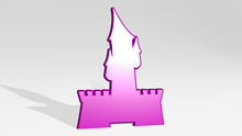 CASTLE Made By 3D Illustration Of A Shiny Metallic Sculpture On A Wall With Light Background