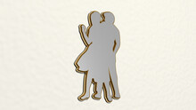 MAN AND WOMAN DANCING Made By 3D Illustration Of A Shiny Metallic Sculpture On A Wall With Light Background