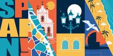 Spain Vector Skyline Illustration, Postcard. Travel Concept In Modern Flat Graphic Design Element