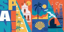 Spain Vector Skyline Illustration, Postcard. Travel To Spain Modern Flat Graphic Design Banner