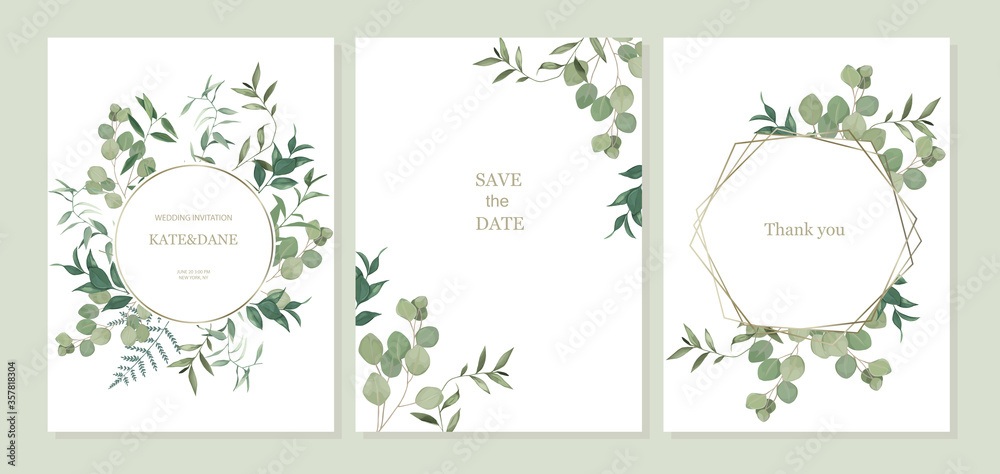 Fototapeta Set of floral card with eucalyptus leaves. Greenery frame. Rustic style. For wedding, birthday, party, save the date. Vector illustration. Watercolor style