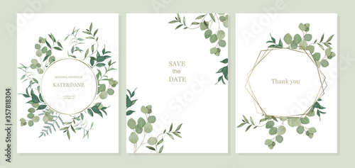Fototapeta Set of floral card with eucalyptus leaves. Greenery frame. Rustic style. For wedding, birthday, party, save the date. Vector illustration. Watercolor style obraz