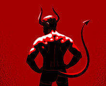 Devil Muscular Strong Man With...