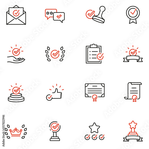 Vector Set of Linear Icons Related to Approvement, Accreditation, Quality Check and Affirmation Wallpaper Mural