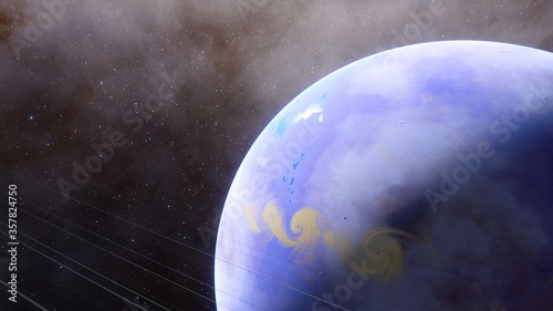 Photo beautiful alien planet in far space, realistic exoplanet, planet similar to Eart