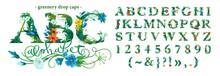 ABC. Floral Alphabet, Botanical Digital Illustration. A Complete Set Of Isolated Letters Of Leaves And Flowers.