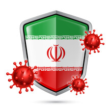 Flag Of Iran On Metal Shiny Shield Icon And Red Corona Virus Cells. Concept Of Health Care And Safety Badge. Security Safeguard Metal Label With Iranian Flag