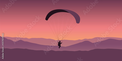 Obraz paragliding adventure on purple mountain background vector illustration EPS10 - fototapety do salonu
