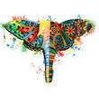 Leinwandbild Motiv Butterfly,elephant watercolor illustration. Hand drawn digital artwork
