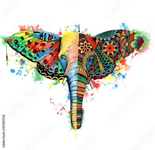 Butterfly,elephant watercolor illustration. Hand drawn digital artwork Wall mural