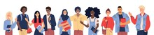 College Or University Students Campus Community Vector Illustration. Young Male And Female Characters With Books. High School Graduates, Smart Teenagers