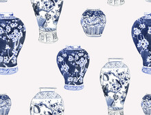 Watercolor Cobalt Blue Vases, Vases In The Chinese Style