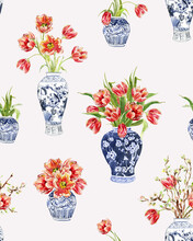 Watercolor Vases With Tulips, Cobalt Blue Vase With Flowers, Pattern