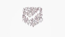 3d Rendering Of Crowd Of People In Shape Of Symbol Of Been Here Marker On White Background Isolated