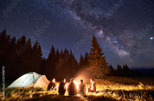 Night summer camping in the mountains, spruce forest on background, sky with stars and milky way Billede på lærred