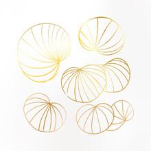 Gold Leaves On White Background. Lily Leaf Set With Sparkles. Noble Design. Vector Illustration.