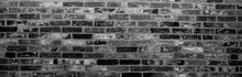Brick Wall Background In Black White. Stone Surface, Banner