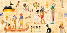 Egyptian Vector Papyrus With Pharaoh Elements - Ankh, Scarab, Cat, Dog, Wadjet. Gods Set - Thoth, Ra, Osiris, Horus, Anubis, Bastet, Ra. Ancient Historical Mural. Egypt Mythology Seamless Pattern