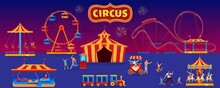 People In Amusement Park Vector Illustration. Cartoon Flat Family Characters Walking In Park With Circus Tent, Ride Rollercoaster Or Carousel, Ferris Wheel, Fun Fair. Carnival Entertainment Background