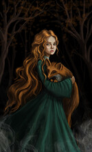 Red-haired Girl With A Fox. Gi...