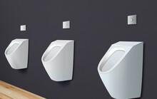 Clean Ceramic Urinals In Men's...