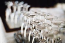 Empty Vine Glasses Standing Upside Down