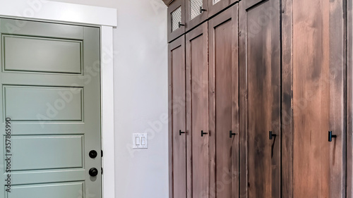 Panorama Home interior with fire door adjacent to the tall vintage wooden cabine Canvas Print